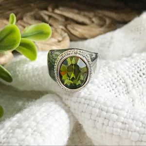 Silver Ring With Green Jewel